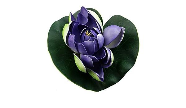 Amazon.com : eDealMax Hoja de espuma acuario Simulación flotante de la Flor de Loto del ornamento 18cm Dia Verde Violeta : Pet Supplies