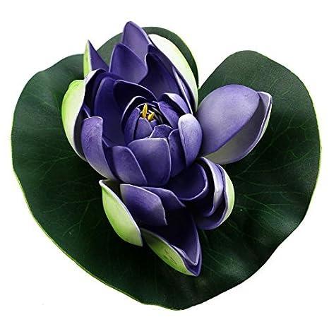 Hoja de espuma DealMux acuario Simulación flotante de la flor de loto del ornamento 18cm Dia Verde Violeta: Amazon.es: Productos para mascotas