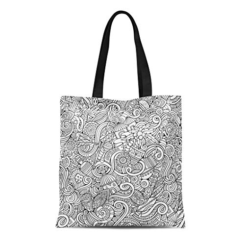 Semtomn Cotton Canvas Tote Bag African Cartoon Doodles Subject of Africa Line South Coconut Reusable Shoulder Grocery Shopping Bags Handbag Printed