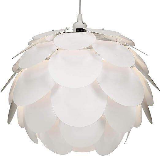 kwmobile Lampadario puzzle DIY bocciolo fiore Paralume per lampada a sospensione e da terra Illuminazione interni design floreale 40x35cm bianco