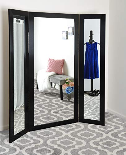 BrandtWorks, LLC AZBM80TRIFOLD Trifold Dressing Mirror Brushed Black (Door Over The Way Mirror 3)