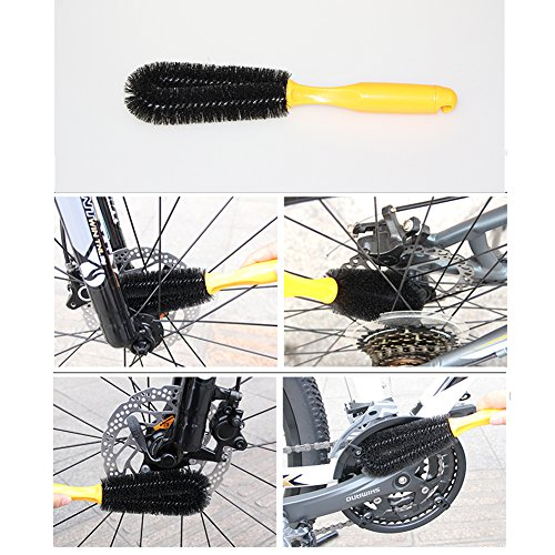 Floratek 6 PCS Portable Bicycle Cleaning Tool Kit Bicycle Chain Cleaner Mountain Road Bike Clean Machine Tire Brushes Coral Gloves by Floratek (Image #7)