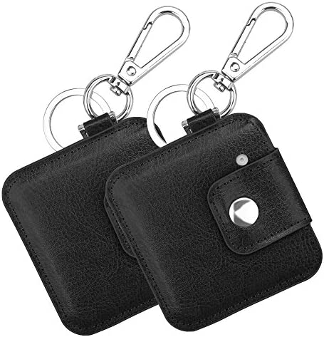 2 Pack Fintie Tile Slim Case with Carabiner Keychain, Anti-Scratch Vegan Leather Protective Skin Cover for Tile Slim Item Tracker Phone Finder, Black