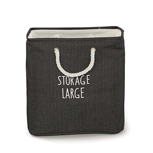 Artextile Thicken Cotton Line Storage Bags Laundry Hamper Foldable Toy and Office Storage Bin Organizer (Black)