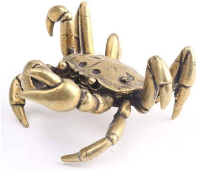 QWERWEFR Creative Mini Cute Vintage Brass Crab Animal Statue Tea Cup Holder Sculpture Home Office Desk Decoration Ornament Hand Toy Gift