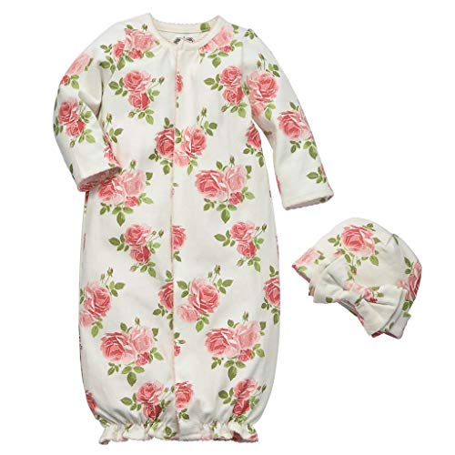 Convertible Set Gown (Mud Pie Baby Girl's Rose Convertible Gown Set (Infant) Pink 0-3 Months)