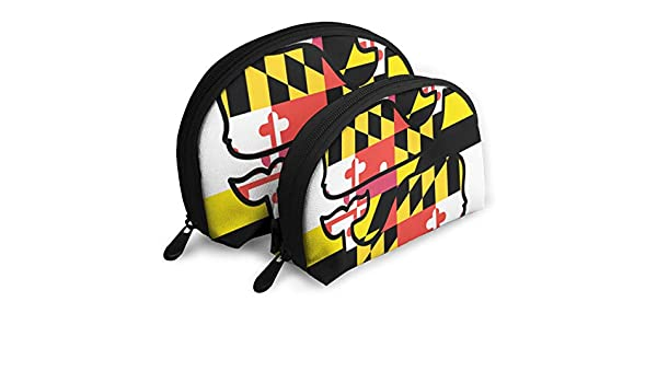 121ff7e24574 Amazon.com  Charm Trend Maryland Flag Travel Makeup Bag- Half Moon Cosmetic  Pouch Multifunctional Train Case Pencil Case Handy Toiletry ...