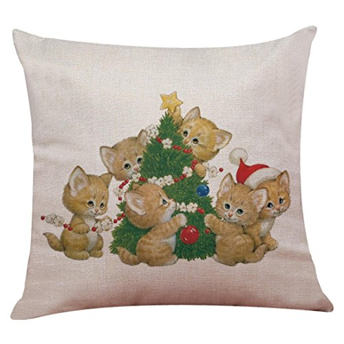 Challyhope Christmas Friendly Cute Dogs and Cats Cotton Linen Pillow Case Sofa Cushion Cover Home Decor New 2017 (45 X 45cm, Multicolor A) (Halloween Funny Cover Photo)