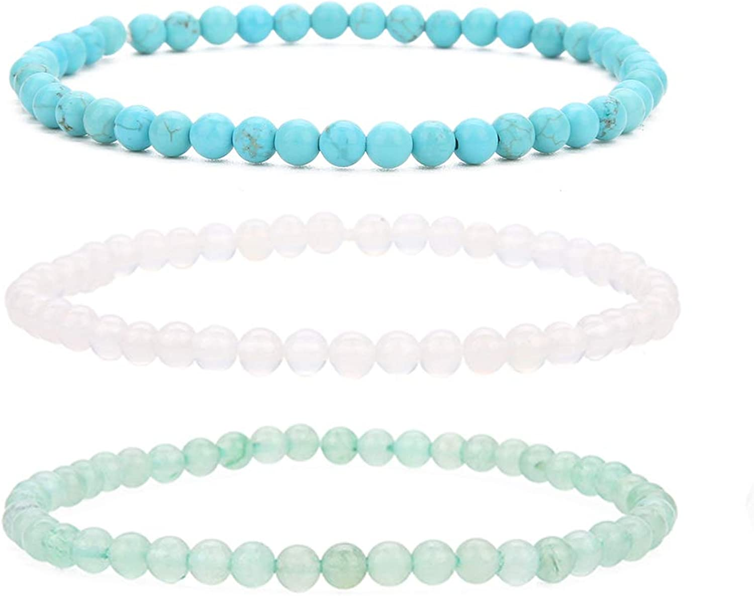 BALIBALI 4MM Mini Gemstone Energy Bracelets Tiny Bracelet Natural Stone Statement Bracelet Charm Beaded Couples Bracelets