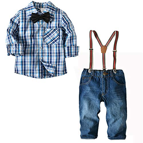 Nwada Little Boys Clothes Sets Bow Ties Shirts + Suspenders Pants Denim Jeans Toddler Boy Gentleman Outfits Suits Light Blue 2-3 Years