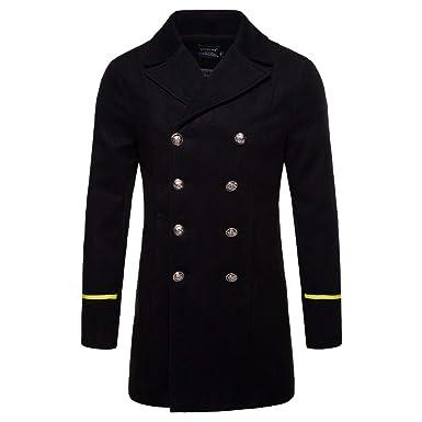 c3696f85145e AOWOFS Men's Mid Long Wool Woolen Coat Winter Double Breasted Military  Overcoat Warm Trench Coat Black
