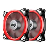 Aigo, Halo LED 120mm 12cm PC CPU Computer Case Cooling Neon Quite Clear Fan Mod 4 Pin/3 Pin (2 Pack Red)