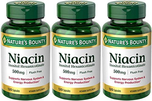 Set of 3 Nature's Bounty Niacin Flush Free 500 mg, 120 Capsules by Maven Gifts by Nature's Bounty