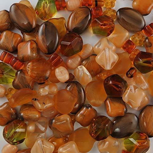 BEAD CONCEPTS™ ½lb Mix Czech Glass Beads in Assorted Sizes – for all your Jewelry making imaginations. - Topaz/Ember ()