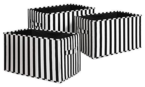 Lush Decor Stripe Fabric Covered 3 Piece Collapsible Storage Box Set, 14