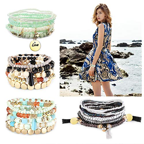 Finrezio 4 Sets Bohemian Beaded Bracelets for Women Multilayer Stretch Stackable Bracelet Set Multicolor Jewelry