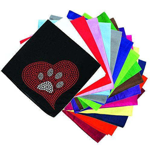 Dog in the Closet, Red Heart with Paw #2 - Rhinestone Dog Bandana - Choice of Color
