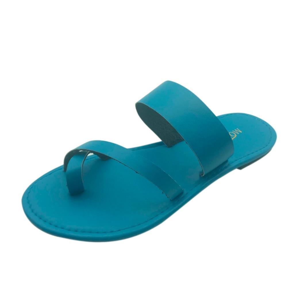 yjydada Flip Flops、夏レディースカジュアルサンダルアンクルストラップグラディエーター低フラットサンダル靴 B07D483TYF  ブルー 37