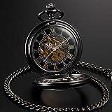 AMPM24 Steampunk Skeleton Mechanical Copper Fob Retro Pendant Pocket Watch + AMPM24 Gift Box WPK164 Bild 6