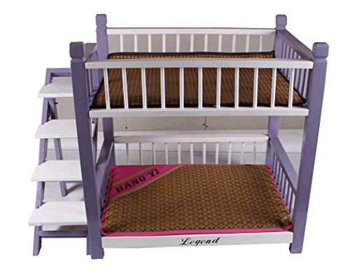 Wooden Indoor Dog House Double Panel Deck Pet Bunk Bed With Pet