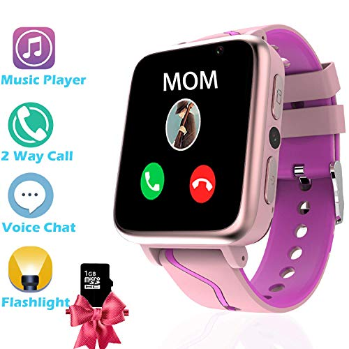(Music Kids Smart Watch for Girls Boys ,Students Smartwatch with MP3 Music Player 2ways call Voice Chat SOS Camera Pedometer Flashlight, the Choice of 4-15 Years Old Children Back to School(Pink))