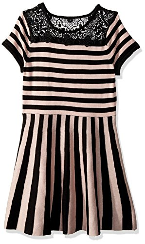 My Michelle Girls' Big Stripe Dress with Lace, Blush L (Michelle My Clothes)