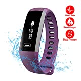 Smart Watch - Fitness Tracker - READ R5.PRO Heart Rate Monitor Blood Pressure Bracelet Pedometer Activity Tracker Sleep Monitoring Call SMS SNS Remind Watch for Android IOS (Purple)