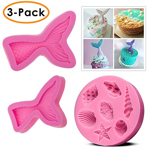 QIBOX(Set of 3) Silicone Fondant Cake Molds, Non-stick BPA Free Chocolate, Jelly, Candy Mold, Cupcake DIY Baking Decoration Tool, Mermaid Tails (Large + Small) + Sea Shell
