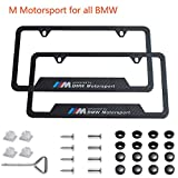 jiayuandz 2pcs M Motorsport Logo License Plate Stainless Steel Frame with Carbon Fiber Textured Glossy Finish Logo for BMW