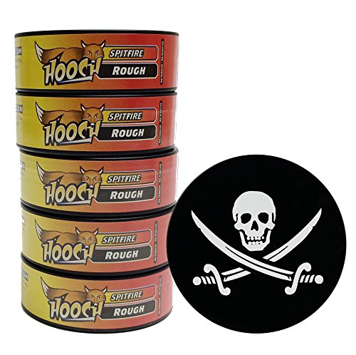 Roll Spitfire (Hooch Snuff - Non-Tobacco Nicotine Free Chew - SpitFire - 5 Cans (long cut)-Includes Free DC Skin Can Cover)