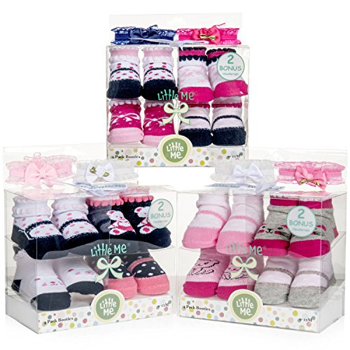 Little Me 12 Pack Bootie Gift Set for Infant Boys & Girls, 0-12 (Infant Girls Bootie)