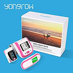 Yongrow Set of 3 Family Health Box - Automatic Wrist Blood Pressure Monitor & Dual Mode Digital Infrared Forehead and Ear Thermometer & Blood Oxygen Saturation Monitor