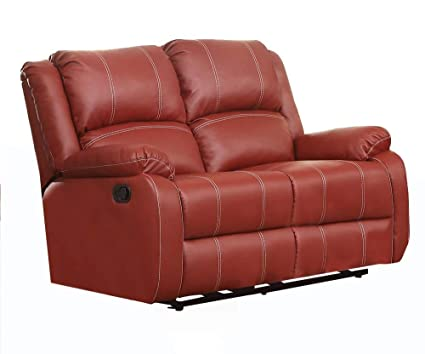 Swell Benzara Bm177634 Faux Leather Upholstered Metal Loveseat With Dual Recliner Red Evergreenethics Interior Chair Design Evergreenethicsorg