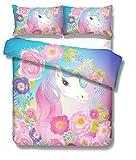Prula Cooper Girl Unicorn Bedding Set Purple Pink Blue Bedding Duvet Cover Set Twin Girls Printed Modern Lightweight Kids Bedding Set for Teens