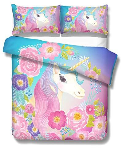 Prula Cooper Girl Unicorn Bedding Set Purple Pink Blue Bedding Duvet Cover Set Full Girls Printed Modern Lightweight Kids Bedding Set for Teens