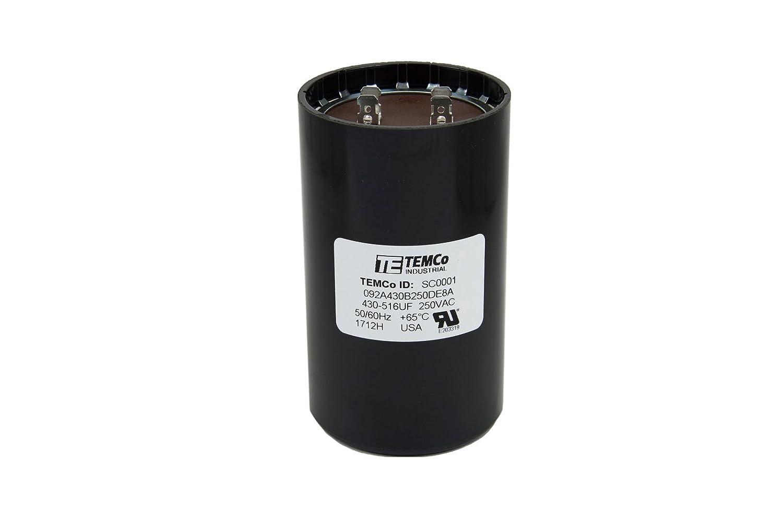 TEMCo Motor Start Capacitor SC0001-430-516 mfd 220-250 V VAC Volt uf Round HVAC  AC Electric - Electric Fan Motors - Amazon.com