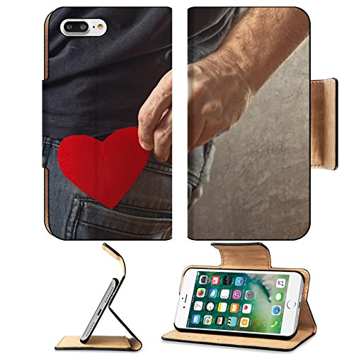 Luxlady Premium Apple iPhone 7 Plus Flip Pu Leather Wallet Case iPhone7 Plus 24814157 Be my Valentine Valentines day concept Man taking red paper heart out of his - Shape Heart Face Male