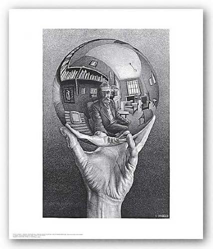 Modern paintings Escher Hand Ball White Black Print Canvas Canvas Home Decor