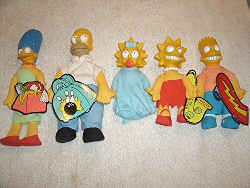 Collection of Five Burger King Simpson Doll Figures: Homer, Marge, Bart, Lisa and - Simpson Doll Maggie