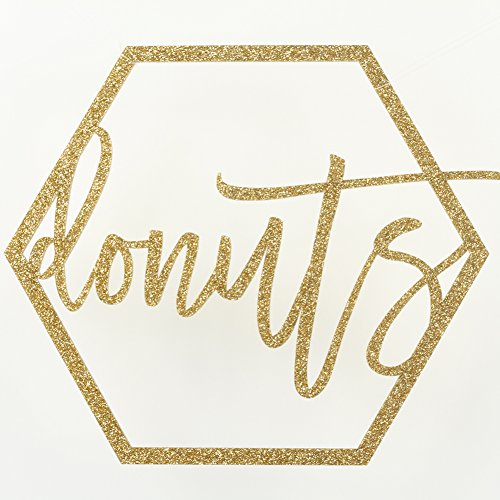 Koyal Wholesale Gold Party Sign Donuts Bar Sign, Gold Glitter Banner, Wedding Display, Party Banner, Party Decor For Wedding Engagement Bridal Shower Baby Shower Birthday Party (Donuts, ()