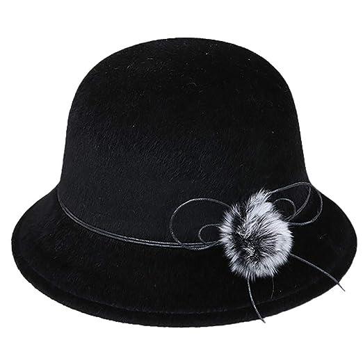 44fb92143cb FEDULK Women s Crushable Felt Outback Hat Soft Classic Panama Fedora  Wedding Party Hat(Black