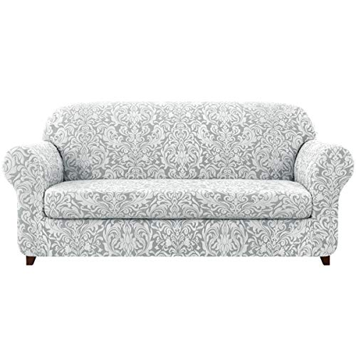 subrtex Sofa Slipcover 2-Piece Jacquard Damask Couch Cover with Seat Cushion Stretch Furniture Protector for Armchair in Living Room for Kids, Pets (Large,Light Smoky Gray)