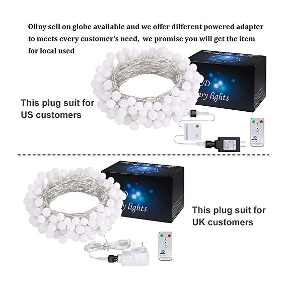 """Ollny Globe String Lights 100 LED 33ft for Indoor Bedroom Wedding Party Outdoor Christmas Garden Decorations Bulb Fairy String Lights with Remote Plug in Multi Color - 💡 8 LIGHTING MODES: The multi-color globe string lights, string length is 33ft, have 100 LEDs and 8 working modes - Combination, In Waves, Sequential, Slo-Glo, Chasing/Flash, Slow Fade, Twinkle/Flash, Steady on. You can use the remote to choose your favorite mode. Softer lights creating warm romantic atmosphere for your family at every moment. 💡 TIMER FUNCTION: TIMER FUNCTION: The fairy string lights come with a remote. Remote control has memory function, no need to repeat settings. If you want to reset you can pull out adapter/plug directly. When the adapter/plug has been pulled out and turned on again, the default light mode is automatically turned on. And you can set the """"Timer"""" by remote, the string lights will be automatically on for 6 hours and off for 18 hours per day. 💡 SAFE FOR USE: UL certificated plug, advanced LED bulbs and really safe DC 29V low voltage plug for use in your home. The high-quality keeps the lights at a low temperature so they are safe to touch after many hours of use. - patio, outdoor-lights, outdoor-decor - 51CwxNY zJL. SS570  -"""