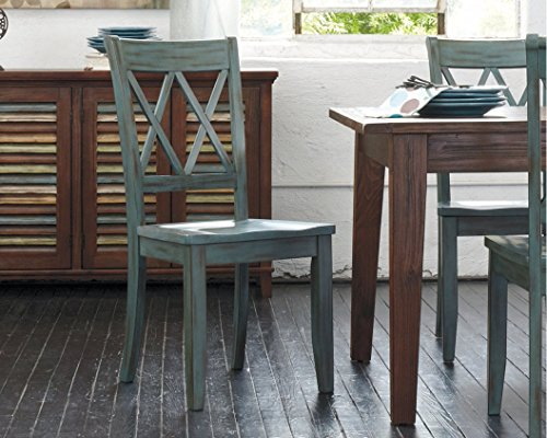 Ashley Furniture Signature Design - Mestler Dining Room Side Chair - Wood Seat - Set of 2 - Blue/Green - SET OF 2  VINTAGE INSPIRED DINING ROOM CHAIRS: Classic open double X back dining chairs are both rustic and modern, and ideal for the kitchen, dining room or breakfast room UNIQUELY CRAFTED: Sturdy wood frames DISTINCTIVE GREEN BLUE HUE: Enjoy the unique time worn antique blue green patina finish - kitchen-dining-room-furniture, kitchen-dining-room, kitchen-dining-room-chairs - 51CwxT QnUL -