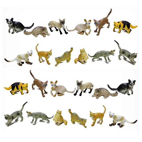 2 Inch Cat Toy - Fun Central AZ915 24 Pieces, 2 Inch Assorted Cat Toys for Kids, Cat Toy Figure, Cat Girl Toy Figures
