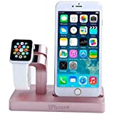 iPhone 7 Plus Charger Dock, XPhonew 2 in 1 Apple Watch Stand iPhone Charging Dock Station Holder Display Cradle for iPhone 7 / 7 Plus / 6S / 6S Plus 6 / 6 Plus / 5S / 5 / SE / Apple Watch 2 iWatch 42mm & 38mm All Models (Rose Gold)