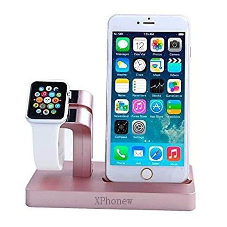 Base para cargador de iPhone, XPhonew 2 en 1 Apple Watch Soporte iPhone Cargador Soporte estación acoplamiento Dock para iPhone 7 6S 6 Plus 5S 5 SE ...