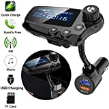 FM Transmitter for Car, TechCode Bluetooth 5.0 AUX Audio Receiver Car MP3 Player Handsfree Calls Wireless FM Transmitter TF Card QC3.0 Quick Adapter 1.74 Inch LCD Display Car Kit