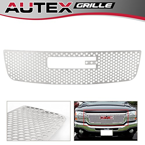 AUTEX Stainless Steel Main Upper Punch Grille Compatible with GMC Sierra 1500/2500/3500 2003 2004 2005 2006 Grill Insert G45771O