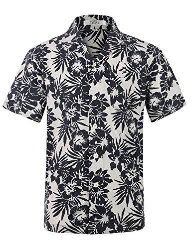 Men's Hawaiian Shirt Short Sleeve Aloha Shirt Beach Party Flower Shirt Holiday Print Casual Shirts Flowers Black EHS025-2XL ()
